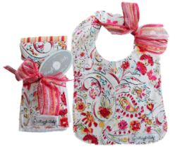 Baby Girls Fancy Floral Bib & Burp Cloth Gift Set-colorful, flowers, floral, baby, bib, burp cloth, burpie, gift set, infant, baby, girl, boutique, hot pink, spring
