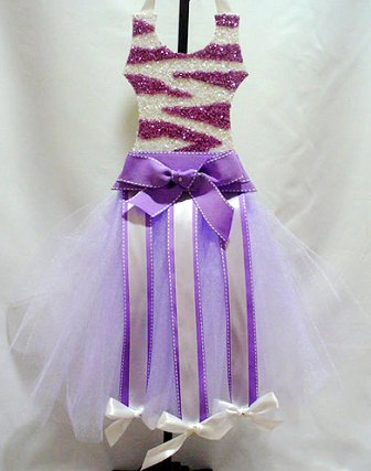 Lavender Zebra Glittered Tutu Hair Bow Holder
