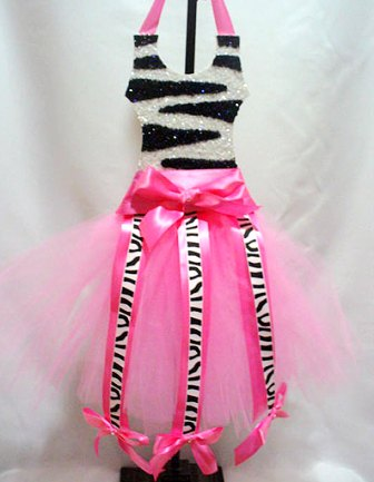 Black & White Zebra Glittered Tutu Hair Bow Holder