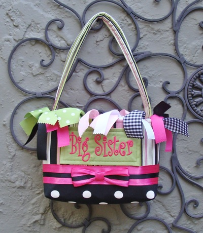 Big Sister Bag - Razzle Dazzle Pink Lime Black Stripe