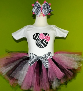 Birthday Mouse Pink Zebra Tutu Outfit-pink, black, minnie mouse, disney, animal print, party