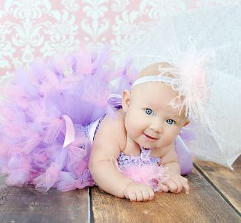 Blossom Wishes Lilac Plumes Baby Crochet Tutu Dress