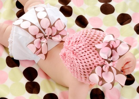 Chocolate & Pink Glam Baby Diaper Bloomers