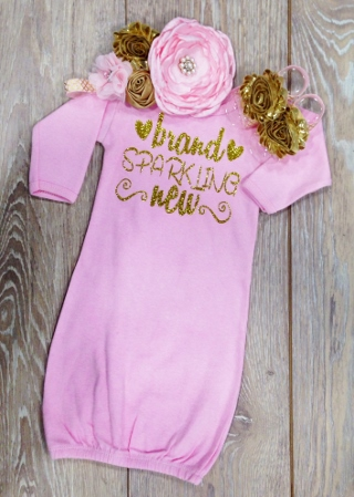 Light Pink Brand Sparkling New Gold Glitter Newborn Gown-light pink newborn gown, newborn gown, take home gown, gold glitter, newborn baby girl, hospital gown, take home outfit, infant, baby girl