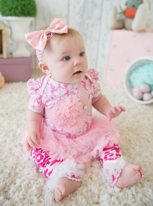 Baby Pink Rosette Easter Bunny Damask Bodysuit Romper Pettiskirt Tutu Bow Headband & Leg Warmers-pink damask, easter, easter bunny, ruffle, easter dress, easter outfit, boutique clothing, newborn, infant, baby, girl