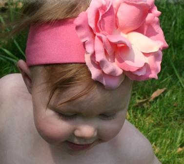 Candy Pink Rose Flower Headband-