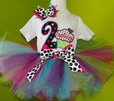 Colorful Bright CupcakeTutu Outfit-set, polka dots, colorful, cupcake, bithday party