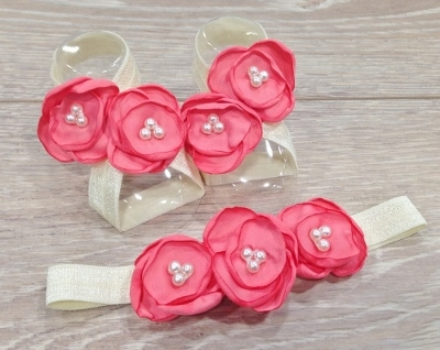 Coral & Cream Flower Sandals & Headband Set-Coral flower headband, coral sandals, baby gift set, baby shower gift, newborn shoes, ivory and coral, baby girl