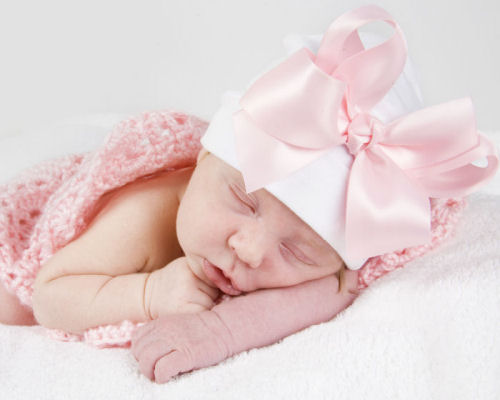 Pink Satin Bow Cotton Hat-pink, infant, baby girl, cotton hat, beanie, newborn