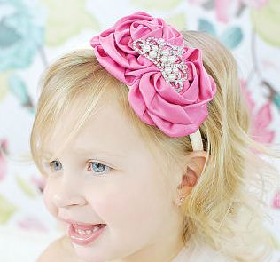 Couture Girls Pearl Tiara & Vintage Rosette Headband-pink, crown, tiara, princess, infant, baby, girl , boutique, rhinestone, bling