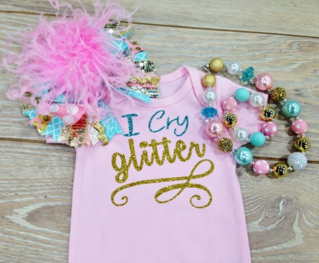 I Cry Glitter Turquoise & Gold Glitter Onesie-i cry glitter, turquoise and pink, light, onesie, shirt, newborn, infant, baby girl, sparkle, glitter, saying, outfit, set, over the top, bow, jewelry