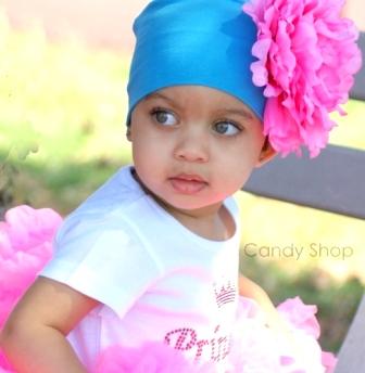 Aqua & Pink Flower Hat-