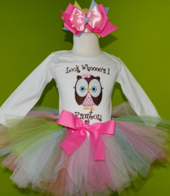Owl Pink Colorful Birthday Tutu Outfit-owl, birthday, pastel