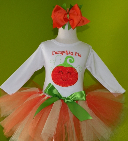 Pumpkin Pie Halloween Tutu Outfit Set-orange, white, green, halloween, costume