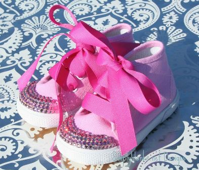 Pink on Pink Swarovski Bling Baby Shoes