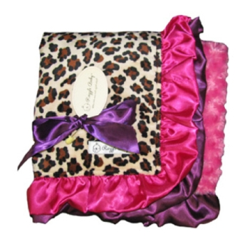 Leopard Jewel Baby Blanket-leopard print, purple, hot pink