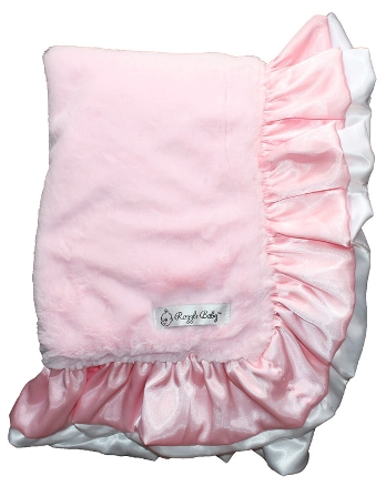 Pink & White Plush Ruffle Baby Blanket-light pink and white, pink, ruffle, satin, plush, baby blanket, baby girl, boutique