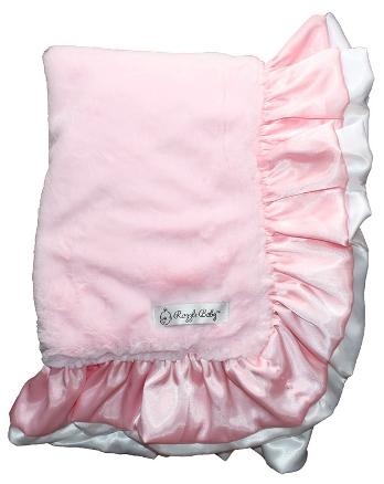 Pink & White Plush Ruffle Baby Blanket-light pink and white, pink, ruffle, satin, plush, baby blanket, baby girl, boutique