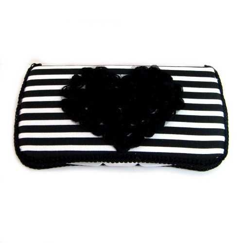 Drew Black & White Stripe Baby Travel Wipes Case-heart, black, and, white, striped, stripes, stripe, chic, wipey, wipe, case, holder