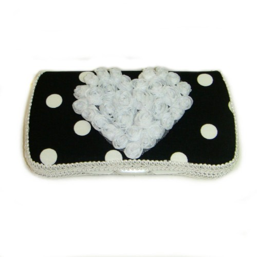 Dylan Black & White Polka Dots Travel Wipes Case-black, white, polka, dot, heart, wipey, wipe, case, holder