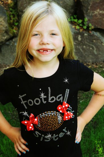Football Sister Bling Top-school, spirit, team, football, sports, sister