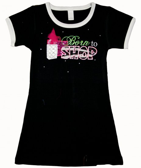 Born to Shop Dress-black, pink,