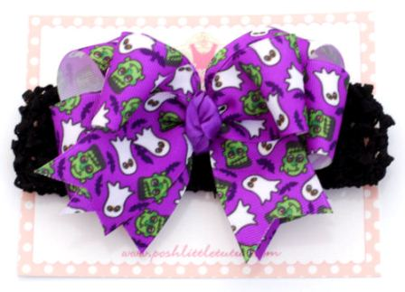 Halloween Party Ghosts Baby Hair Bow Headband-purple, halloween, hairbow, bow, ghost