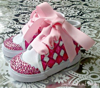Argyle Swarovski Bling Baby Shoes
