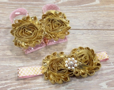 Light Pink & Gold Shimmer Sandals & Flower Headband Set-gold baby shoes, newborn gift set, gold headband, gold flowers, baby girls flower headband, shower gift set, light pink and gold, shoes,