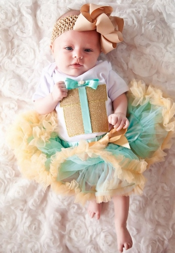 Gift from God Gold & Mint Pettiskirt Tutu & Bow Headband Set-newborn, pettiskirt, gold, glitter, gift, present, birthday, box, newborn outfit, boutique, clothing, infant, baby girl, green and gold, glitter, shimmer, newborn outfit