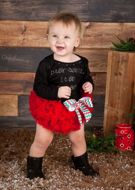 Dear Santa, I Can Explain Tutu Onesie-christmas, holiday, outfit, set, black, red, rhinestone, bling, green, infant, baby, girl, boutique, clothing
