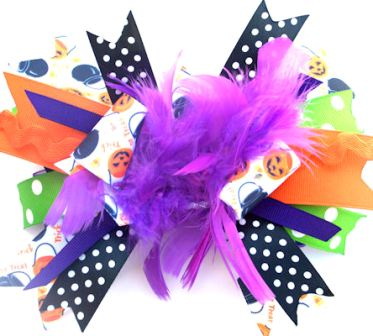 Glamour Treats Funky Halloween - Over-the-Top Hair Bow Headband-orange, purple, black, hairbow, infant, baby girl, boutique
