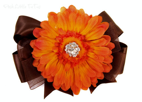 Whimsical Autumn Splendor Hair Bow Headband-brown, orange, flower, infant, baby girl, boutique, thanksgiving, fall