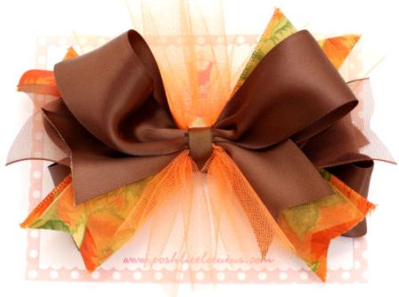 Harvest Splendor Hair Bow Headband-thanksgiving, fall, orange, brown, infant, baby girl, boutique, hairbow