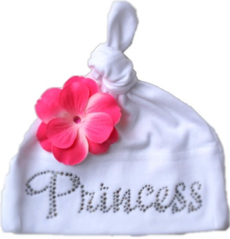 White Princess Rhinestone Bling Flower Hat