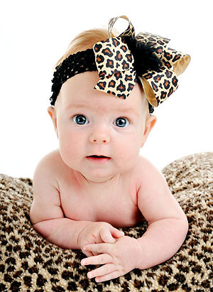 Little Chic Cheetah Baby Headband Hair Bow-animal print, infant, baby, headband, hairbow, newborn, leopard, boutique hair bow