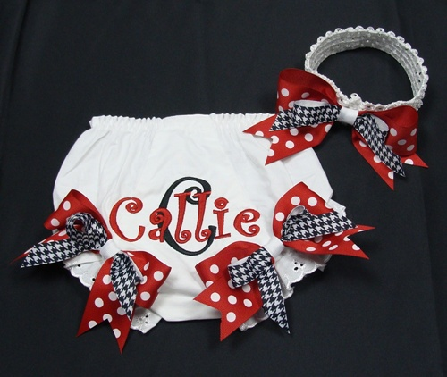 Red & Black Headband Bow Bloomer Set