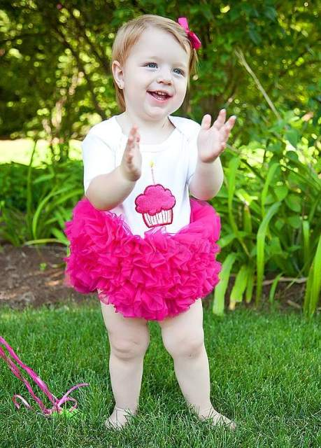 Hot Pink Cupcake Tutu Onesie-hot pink, shocking pink, white, birthday, party, infant, baby girl, 1st birthday, boutique clothing