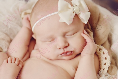 Infant Cream Embellished Hair Bow Headband