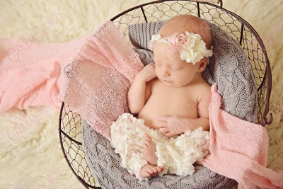 Baby Girl Rosette Tie Back Ruffle Flower Headband-rosette headband tieback, flower crown headband, baby tie back, rosette flower headband, cream and pink, newborn pictures girl, baby band, light pink, cream, ruffled, ruffles, ivory, off white, headband, newborn, infant