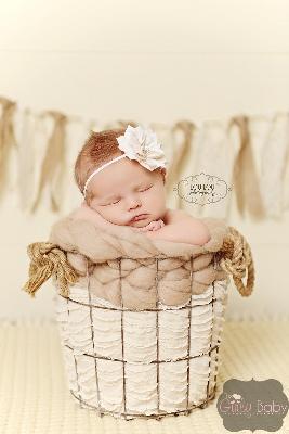 Baby Girls Cream Petal Bling Flower Headband-cream, flower, headband,rhinestone,baby infant , off white, ivory, christening, baptism, wedding, flower girl, newborn, infant, girl, bling