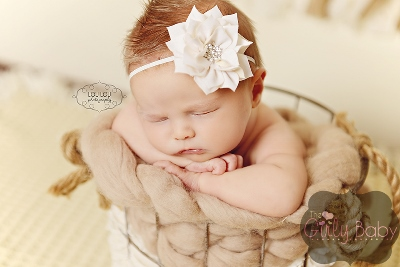 Baby Girls Cream Petal Bling Flower Headband-cream, flower, headband,rhinestone,baby infant , off white, ivory, christening, baptism, wedding, flower girl, newborn, infant, girl, bling