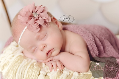 Antique Rose Rhinestone Flower Headband-Antique, rose, headband, mauve, baby, rosette, headbands, infant, newborn, blush, girl