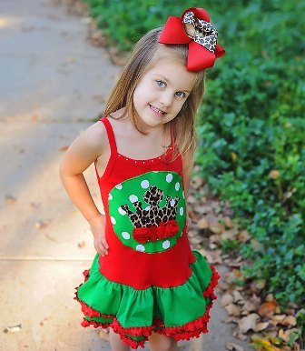 Christmas Leopard Crown Ruffle Dress