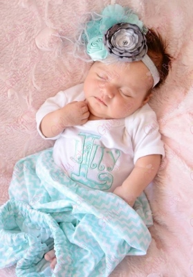 Aqua & White Chevron Personalized Infant Gown