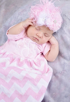 Pink & White Chevron Personalized Infant Gown-light pink, pink and white, chevron, newborn, infant, baby, girl, personalized, monogrammed, take home, take me home, sac, sack, gown