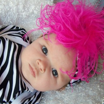 Zebra Print Hot Pink Curly Ostrich Featherband-