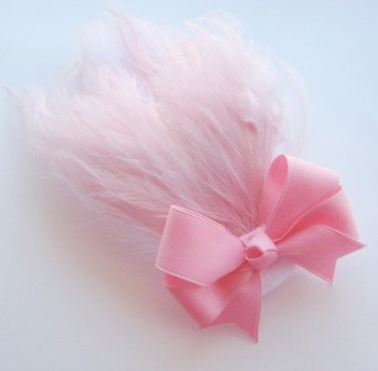 Pink Hair Bow Feather Headband-pink,feathers, light pink, hairbow,