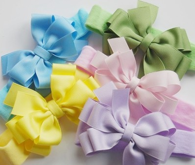 Choose Color - Pastel Double Layer Headband Hair Bow-light pink, lavebder, purple, yellow, blue, baby, blue, green, infant, baby, headband, boutique hair bow