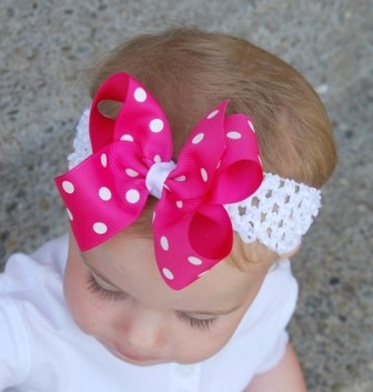Hot Pink Polka Dot Hair Bow Headband-infant, baby, headband, boutique hair bow
